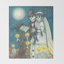 CEMETERY NUPTIALS - Susan Brack Skeleton Halloween Wedding Throw Blanket