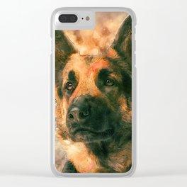 German Shepherd Dog GSD -  Watercolor Clear iPhone Case