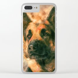 German Shepherd Dog GSD -  Watercolor Clear iPhone Case