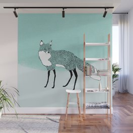 Fox in the snow – Animal Illustration – Kitsune in snow scene – vintage colors – antiqued colors Wall Mural