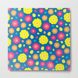 Easter Flower Power Pattern Metal Print