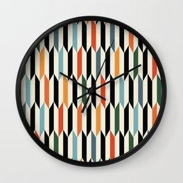 MCC Oddities III - Mid Century Modern Geometric Abstract Pattern - Red Orange Blue Green Black Wall Clock