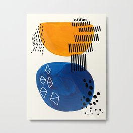 Fun Colorful Abstract Mid Century Minimalist Yellow Navy Blue Whiscial Patterns Organic Shapes Metal Print