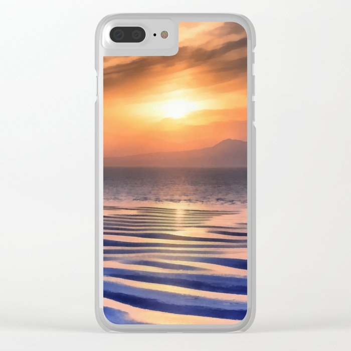 Sunset at high tide Clear iPhone Case