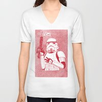 trooper V-neck T-shirts featuring Storm Trooper by David Penela