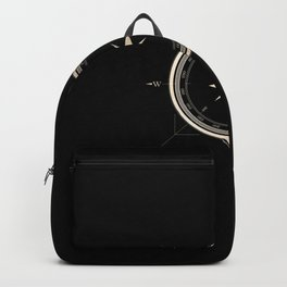 Black on Gold Metallic Compass Backpack