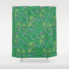 Lilies of the valley and crocuses on green background Shower Curtain