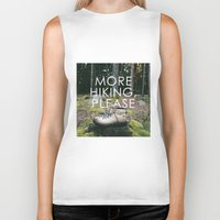 hiking Biker Tanks featuring More Hiking, Please by Bennifer Penningroth