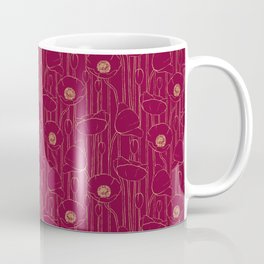 Poppies Field, Hand-drawn Floral Pattern in Deep Red and Gold Texture Coffee Mug