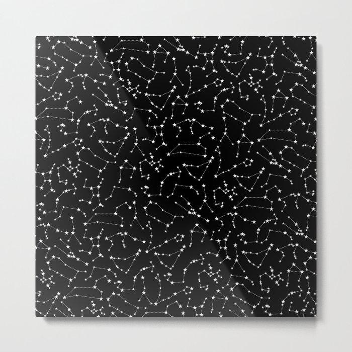 Zodiac Star Constellations Pattern Metal Print