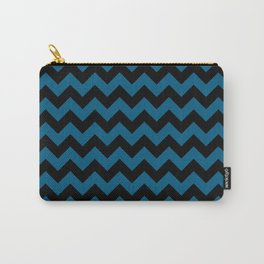 Chevron Black and Blue Minimal Striped Pattern Zigzag  Carry-All Pouch