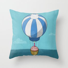 Flying Cupcake Throw Pillow