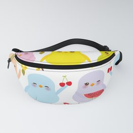 Kawaii colorful blue green orange pink yellow chick Fanny Pack