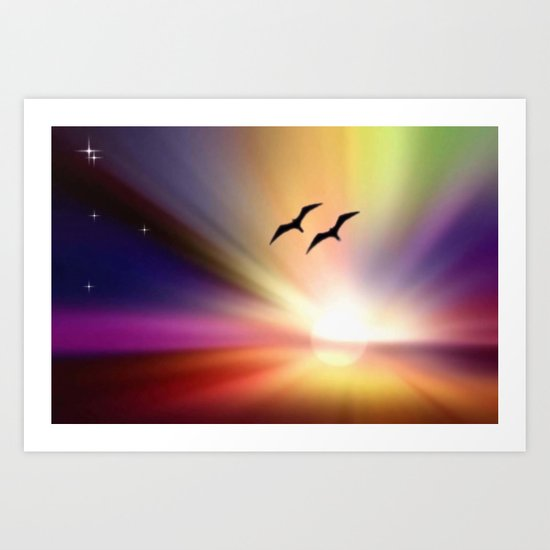 Particularly colorful sunset. Art Print