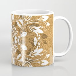 ELEGANT GOLD AND WHITE FLORAL MANDALA Coffee Mug