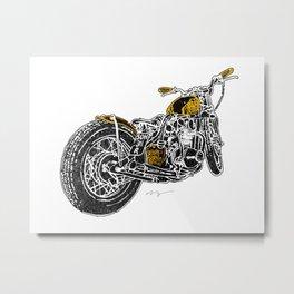 """""""Rootbeer Bobber"""" Custom Motorcycle Metal Print"""
