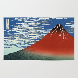 "Hokusai (1760–1849) ""Fuji, Mountains in clear Weather (South Wind, Clear Sky)(Red Fuji)"" Rug"