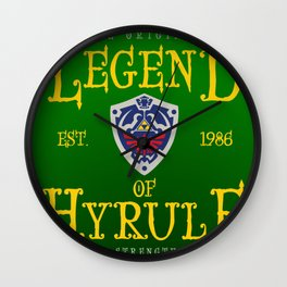 Vintage Video Game Gamer Geeky Chic Legend of Hyrule Shield Crest Wall Clock