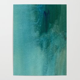 Forest green teal hand painted watercolor ombre Poster