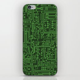 Circuit Board // Light on Dark Green iPhone Skin