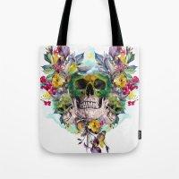 skulls Tote Bags featuring SKULLS by RIZA PEKER