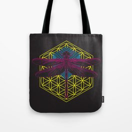 Dragonfly Flower of Life Tote Bag