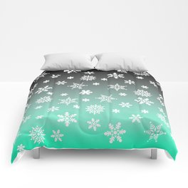 Snow Flurries-Gray/Aqua Ombre Comforters
