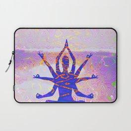 Kali Goddess Sunset Landscape with Tribal Glitch Pattern Laptop Sleeve