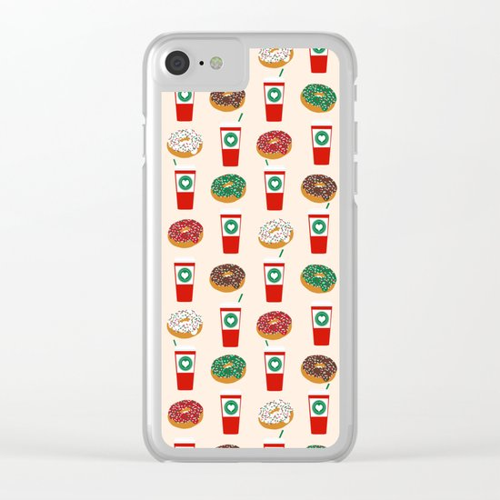 Coffee donuts foodie brunch breakfast desserts coffee lovers gifts Clear iPhone Case
