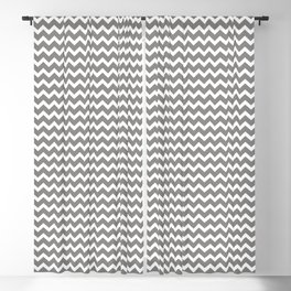 Chevron Zigzag Horizontal Lines Benjamin Moore 2019 Accent Color Cinder Dark Gray AF-705 on Pure Whi Blackout Curtain