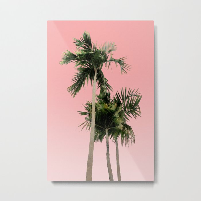 Palm Trees on Pink Wall Metal Print