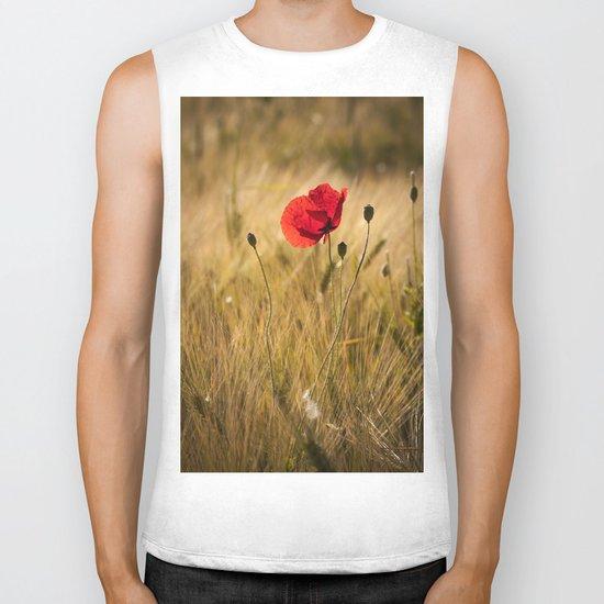 Poppies in a summerfield - Flowers Floral on #Society6 Biker Tank