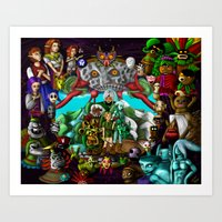 majoras mask Art Prints featuring Majoras mask by Rowena White