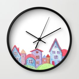 Watercolor painted fairytale village. Colorful houses, hand drawing. Wall Clock