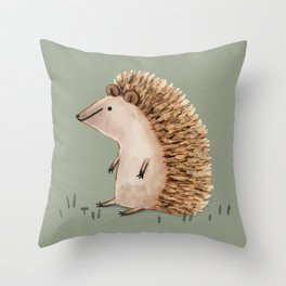 Hedgie Has a Sit Down Throw Pillow