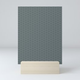 PPG Night Watch Pewter Green Scallop Wave Pattern and Polka Dots Mini Art Print