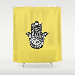 Hand Drawn Hamsa Hand of Fatima on Yellow Shower Curtain