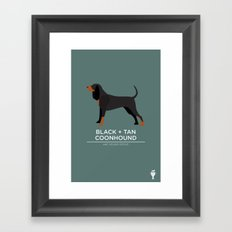 Black + Tan Coonhound Framed Art Print