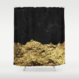 Rough Gold Torn and Black Marble Shower Curtain