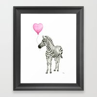 Zebra with Balloon Animal Watercolor Whimsical Animals Framed Art Print