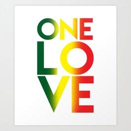 One Love Rasta Reggae Rastafari Music Lovers Gift Art Print
