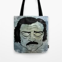 edgar allen poe Tote Bags featuring Poe by Art by Ash