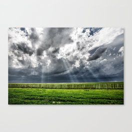 Beams - Sunbeams Illuminate Colorado Landscape On Stormy Day Canvas Print