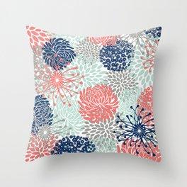Floral Print - Coral Pink, Pale Aqua Blue, Gray, Navy Throw Pillow