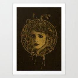 Golden Medusa Greek Mythology Illustration Art Print