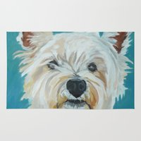 westie Area & Throw Rugs featuring Jesse the Beautiful Westie by Barking Dog Creations Studio