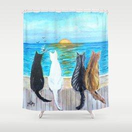 Cat Beach Sunset Shower Curtain