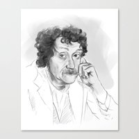 vonnegut Canvas Prints featuring Kurt Vonnegut portrait by Anaelisch