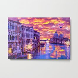 Colorful Abstract Painting of Venice Metal Print
