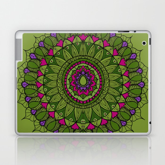 Bohemian Mandala in Green with Pink and Purple Laptop & iPad Skin